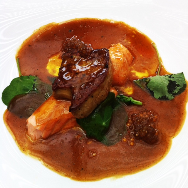 Seared salmon and foie gras, wilted basil, nasturtiums, vanilla jus and licorice beads.