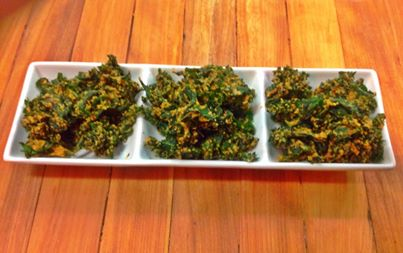 Spicy kale chips with