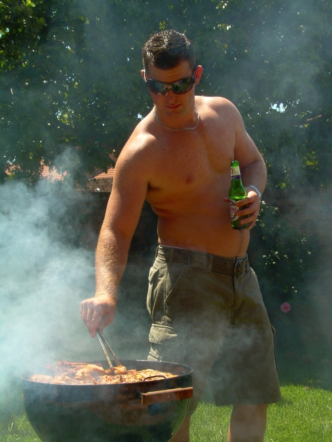 south african man braaing